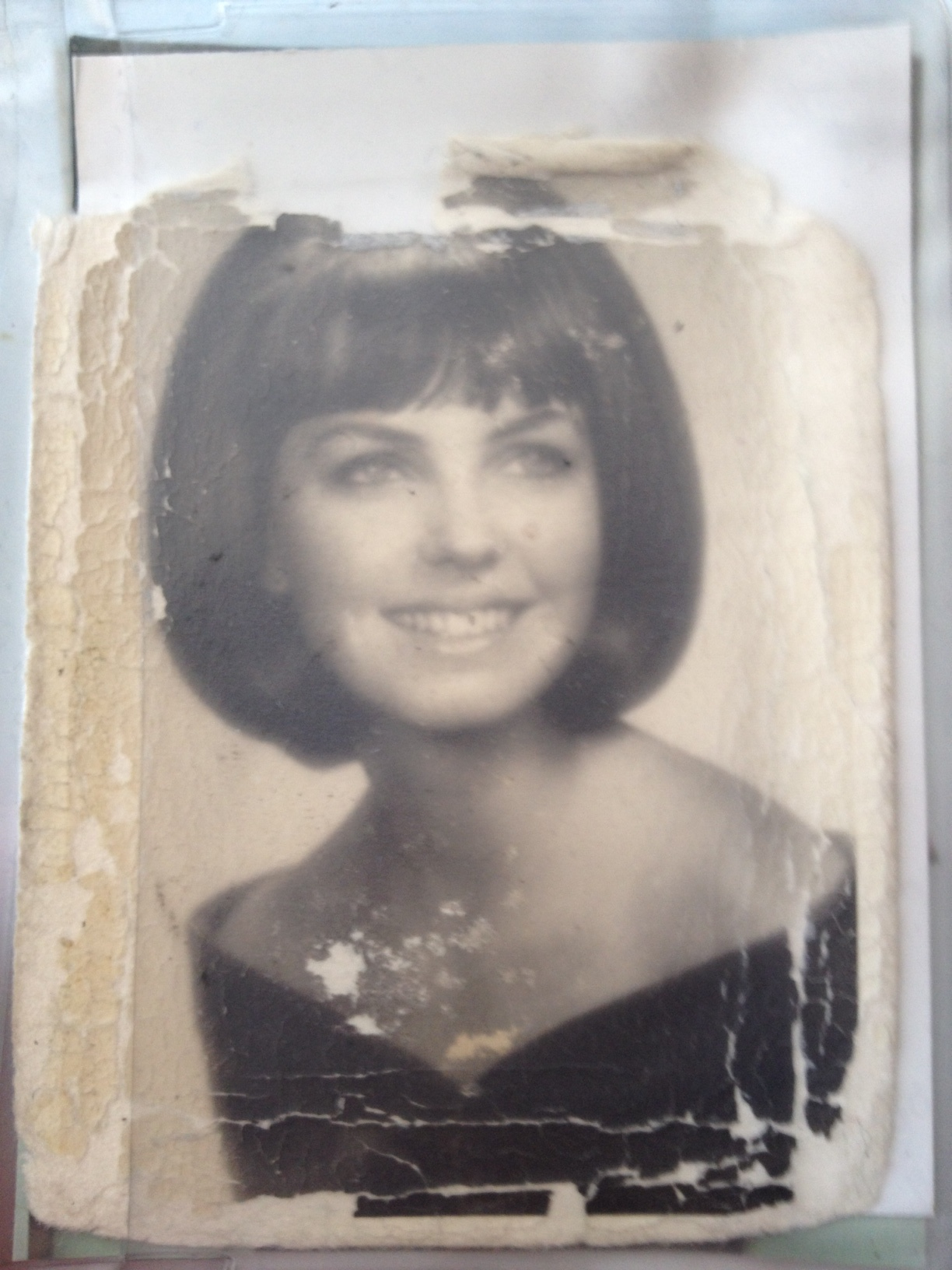 my dad has kept this picture of my mom circa 1965 in his wallet